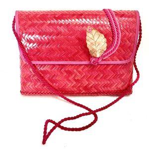Vintage Herringbone Straw Pinks & Magenta Bag